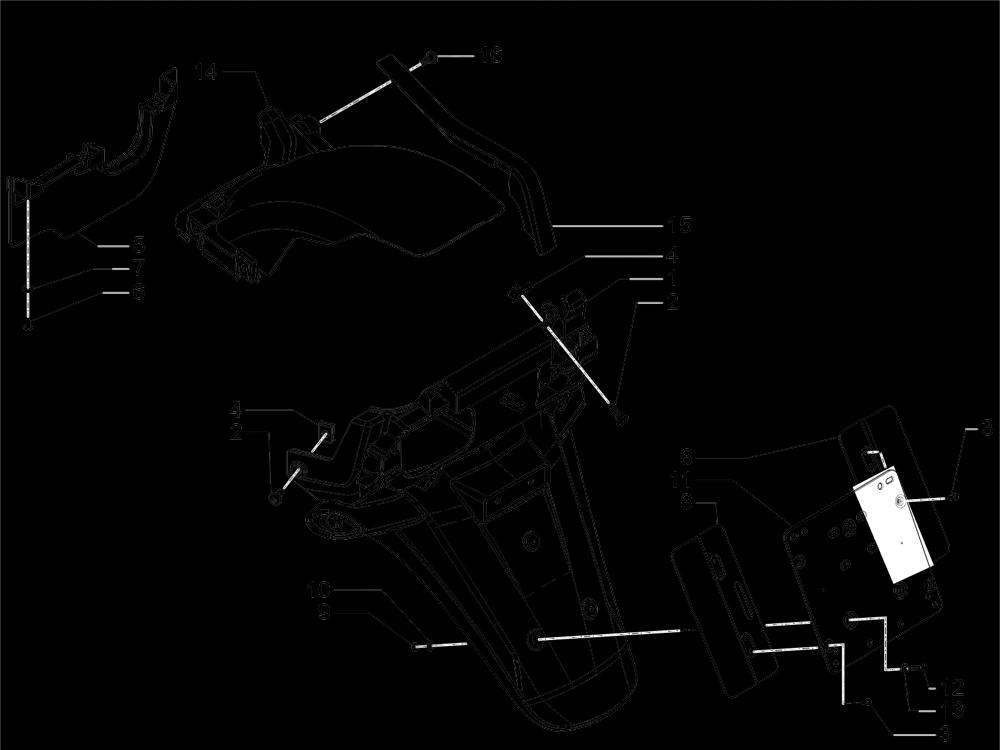 Cubierta trasera - Salpicador Piaggio MP3 500 LT Sport 2014-2015