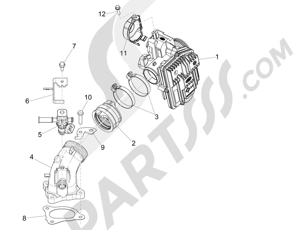 Cuerpo con mariposa - Inyector - Racord admisión Piaggio MP3 500 LT Sport 2014-2015