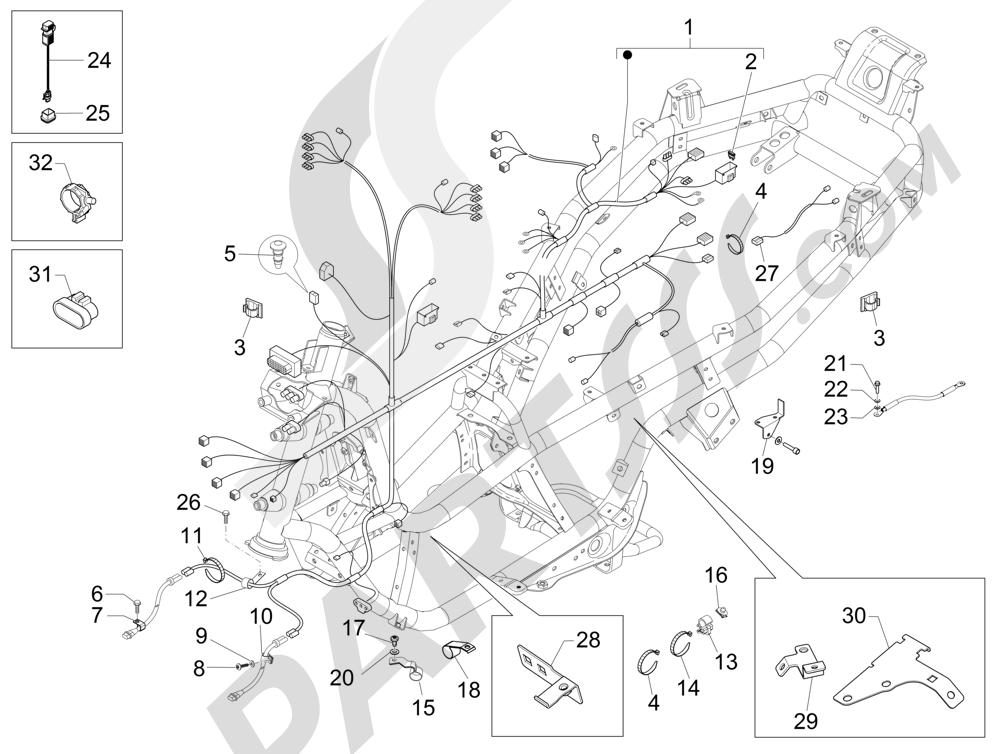 Grupo cables principal Piaggio MP3 500 LT Sport 2014-2015