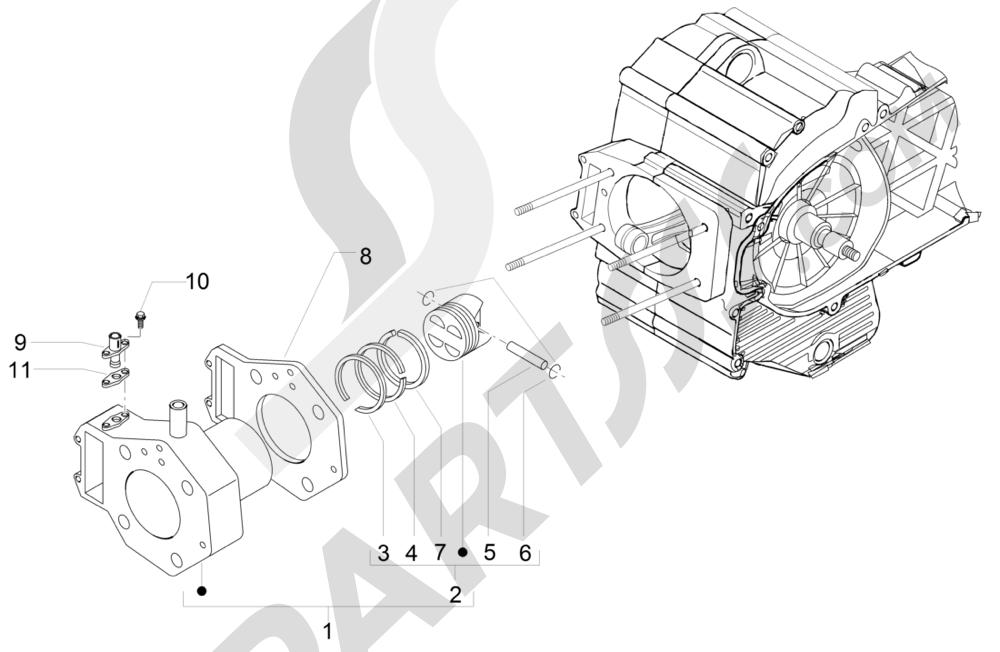 Grupo cilindro-pistón-eje Piaggio MP3 500 LT Sport 2014-2015