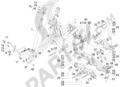 Piaggio MP3 500 RL Sport - Business 2011-2012 Gabel Lenkerleitung - Steuersatz