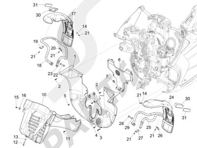 Piaggio MP3 500 Sport ABS (USA) 2015 Alojamiento rueda - Guardabarros