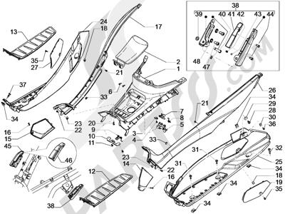 Piaggio MP3 500 Sport ABS (USA) 2015 Cubierta central - Estribos