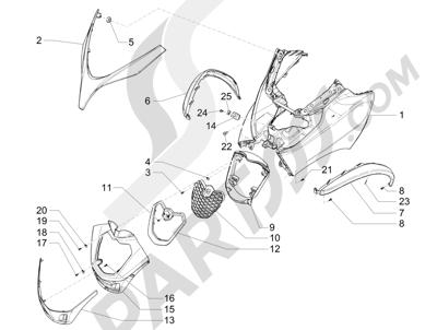 Piaggio MP3 500 Sport ABS (USA) 2015 Escudo delantero
