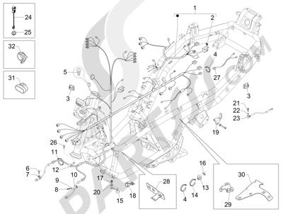 Piaggio MP3 500 Sport ABS (USA) 2015 Harnes kabel utama