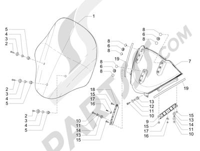Piaggio MP3 500 Sport ABS (USA) 2015 Parabrisas - Cristales