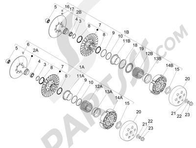 Piaggio MP3 500 Sport ABS (USA) 2015 Polea conducida