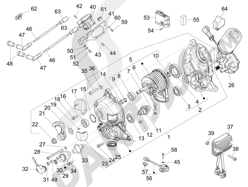 Piaggio MP3 500 Sport ABS (USA) 2015 Regulator tegangan - Unit Kontrol Elektronik (ECU) - Koil H.T.