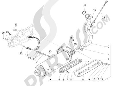 Piaggio MP3 500 Sport ABS (USA) 2015 Silenciador