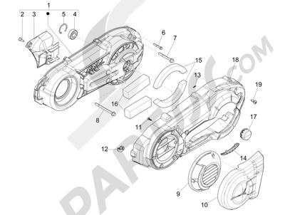 Piaggio MP3 500 Sport ABS (USA) 2015 Tapa cárter - Refrigeracion cárter