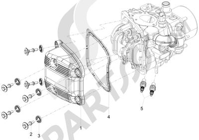 Piaggio MP3 500 Sport ABS (USA) 2015 Tapa culata