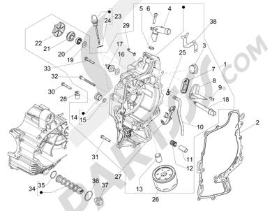 Piaggio MP3 500 Sport ABS (USA) 2015 Tapa volante magnetico - Filtro de aceite