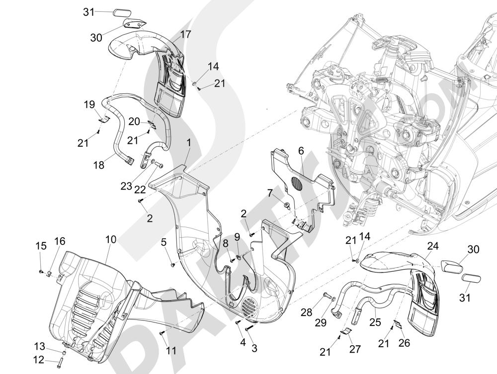 Alojamiento rueda - Guardabarros Piaggio MP3 500 Sport ABS (USA) 2015