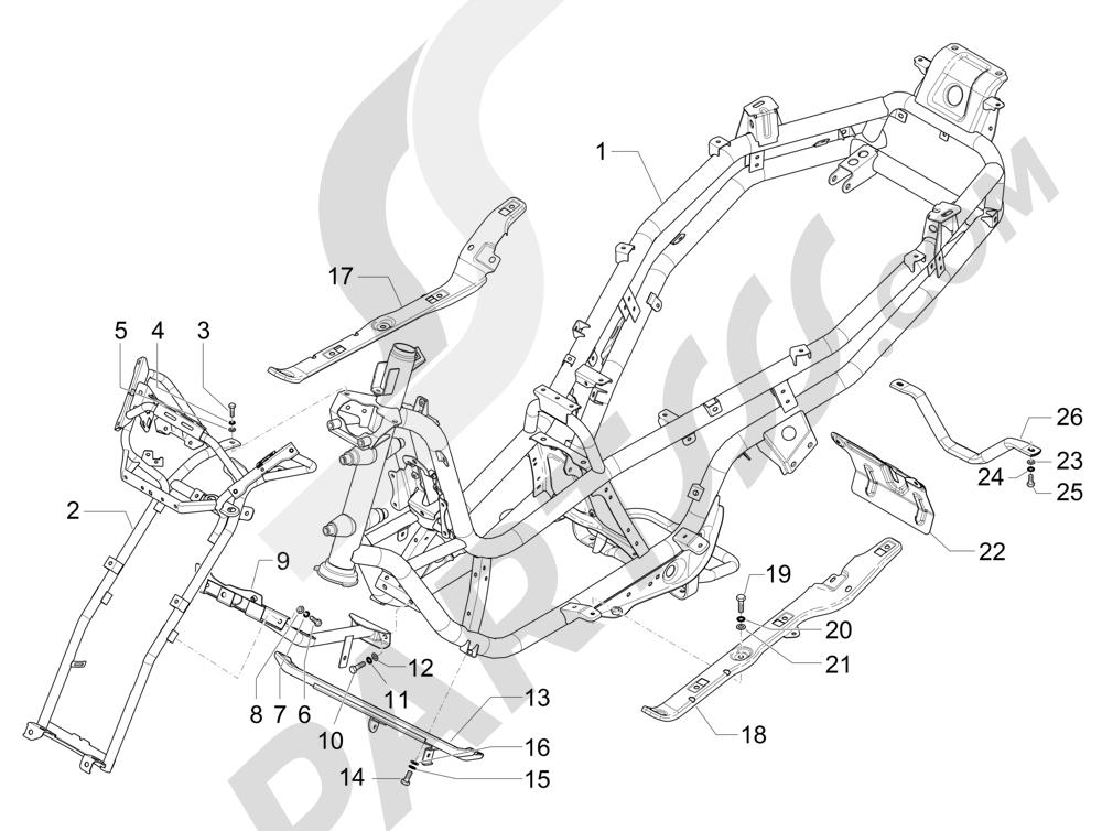 Chasis carrocería Piaggio MP3 500 Sport ABS (USA) 2015