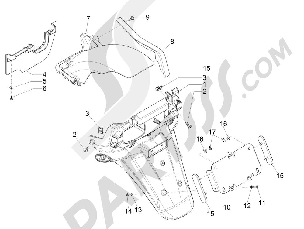Cubierta trasera - Salpicador Piaggio MP3 500 Sport ABS (USA) 2015