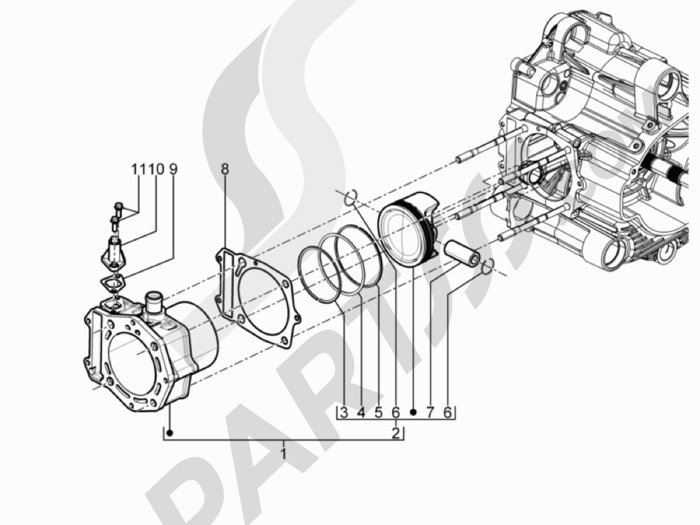 Grupo cilindro-pistón-eje Piaggio MP3 500 Sport ABS (USA) 2015
