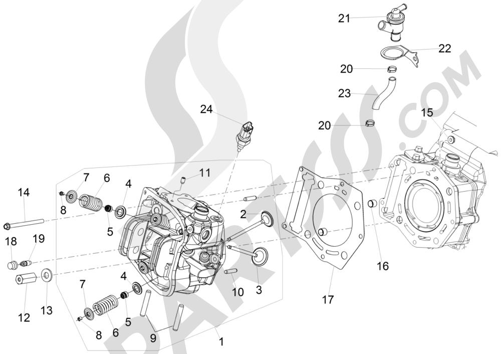 Grupo culata - Valvula Piaggio MP3 500 Sport ABS (USA) 2015