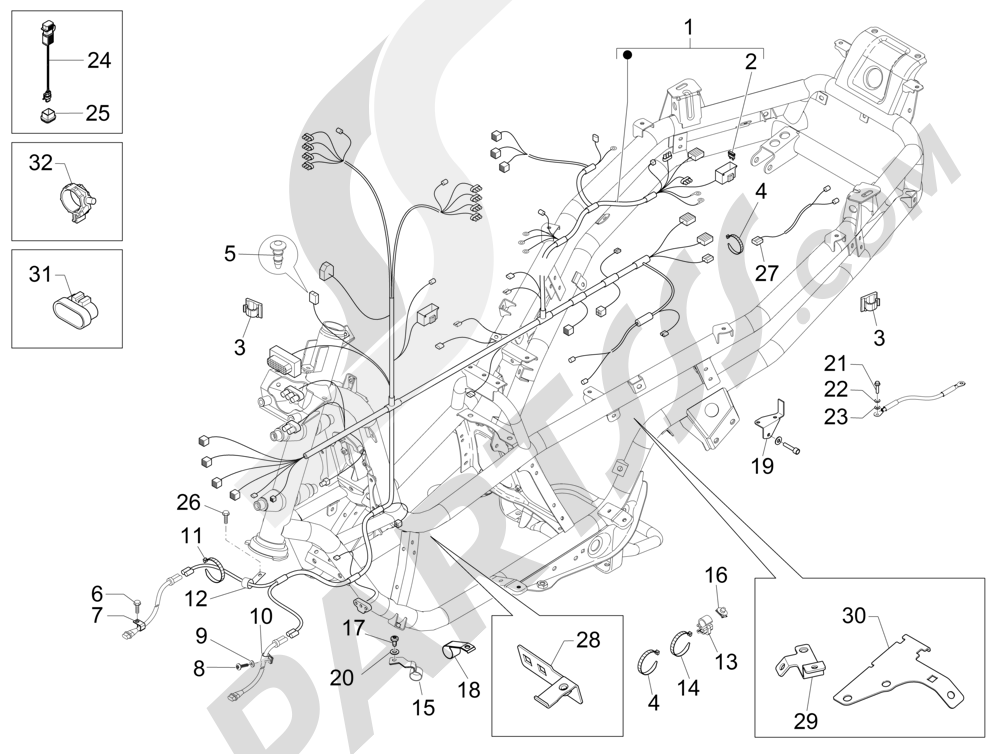 Harnes kabel utama Piaggio MP3 500 Sport ABS (USA) 2015