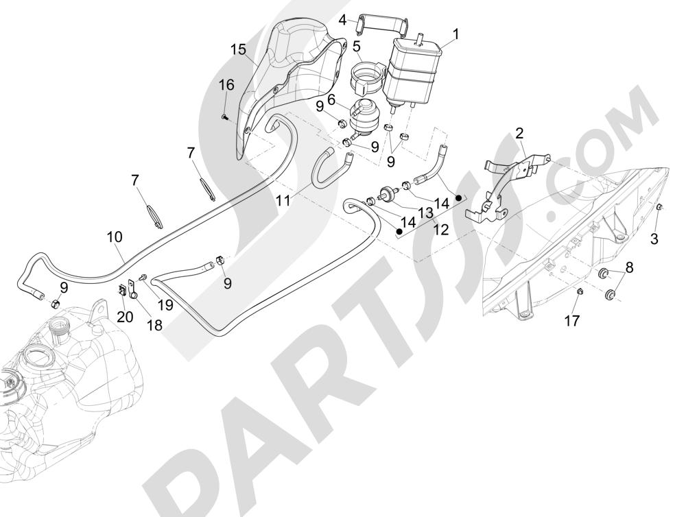Instalación antievaporación Piaggio MP3 500 Sport ABS (USA) 2015