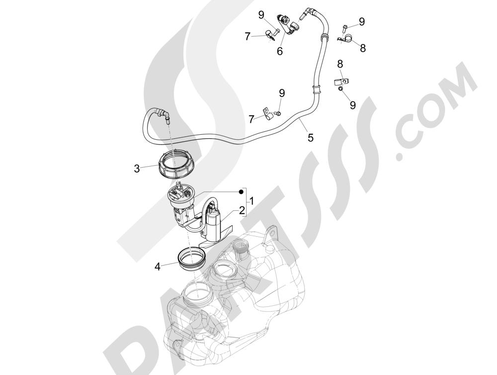 Instalación de alimentación Piaggio MP3 500 Sport ABS (USA) 2015