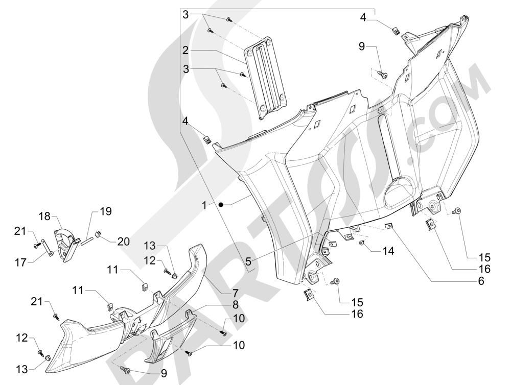 Maletero delantero - Contraescudo Piaggio MP3 500 Sport ABS (USA) 2015