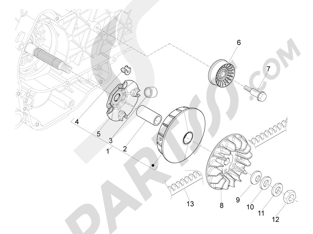 Polea conductora Piaggio MP3 500 Sport ABS (USA) 2015