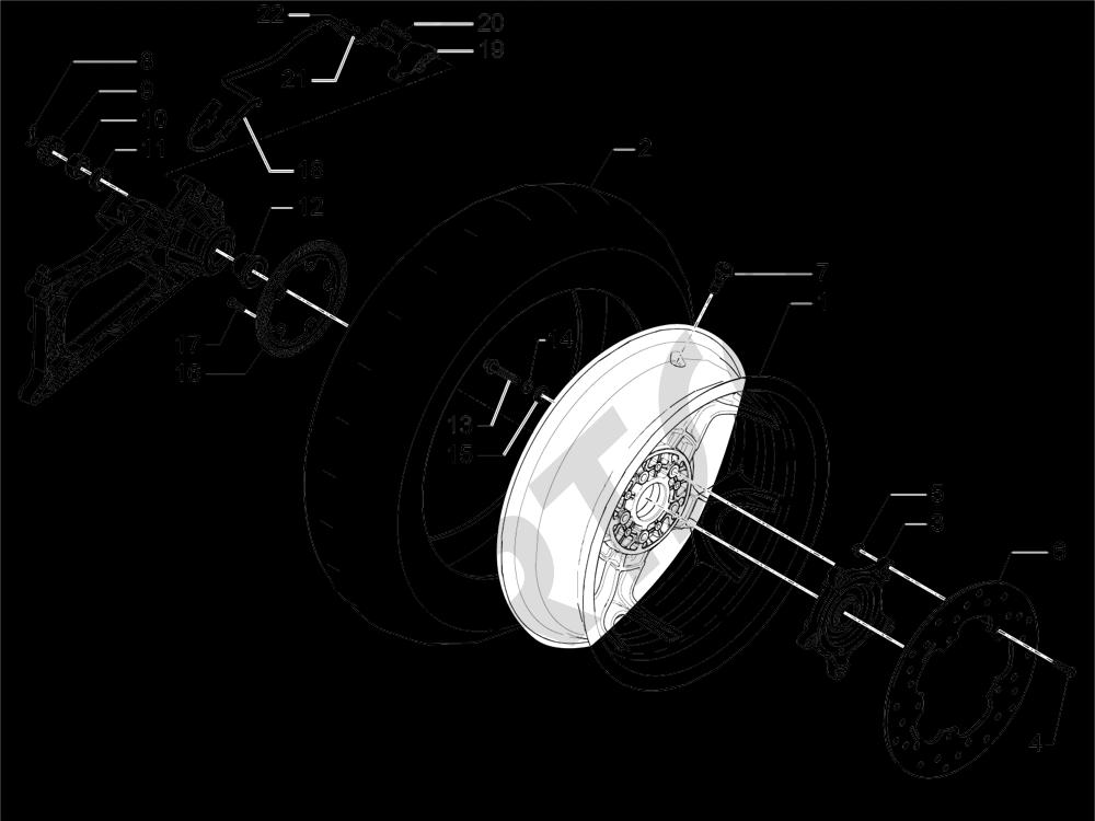 Roda belakang Piaggio MP3 500 Sport ABS (USA) 2015