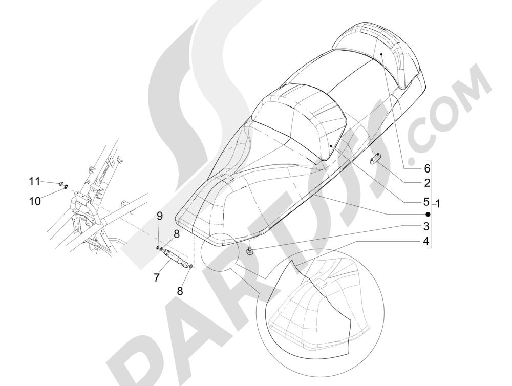 Sillín asientos Piaggio MP3 500 Sport ABS (USA) 2015