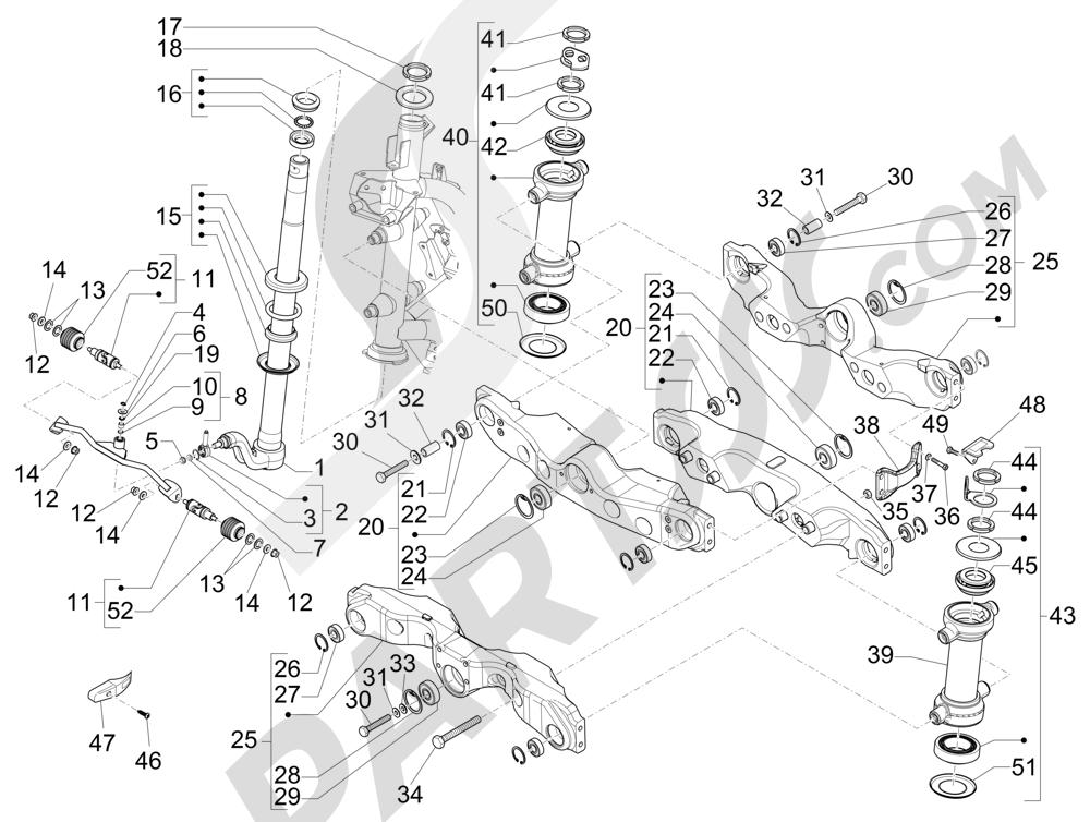 Tabung kemudi garpu - Unit bantalan kemudi Piaggio MP3 500 Sport ABS (USA) 2015