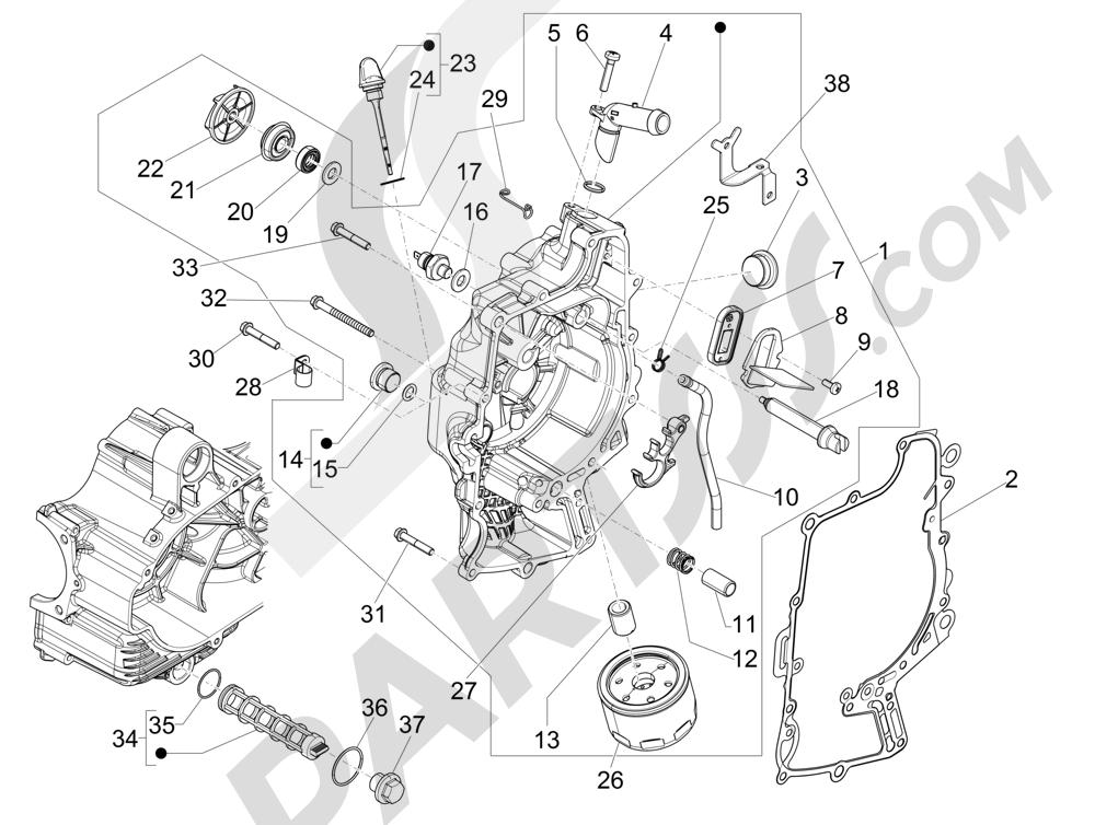 Tapa volante magnetico - Filtro de aceite Piaggio MP3 500 Sport ABS (USA) 2015