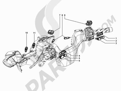 Piaggio MP3 500 Tourer (USA) 2010 Conmutadores - Conmutadores - Pulsadores - Interruptores
