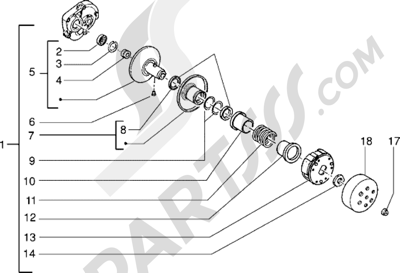 Piaggio NRG 1998-2005 Polea conducida