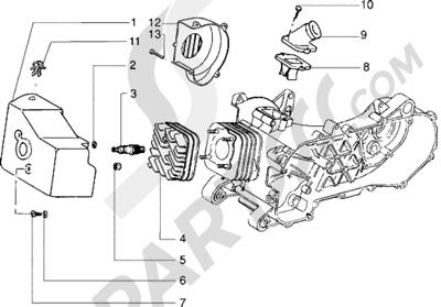Piaggio NRG Extreme 1998-2005 Culata y racor de admision (Vehículos con freno de tambor trasero)