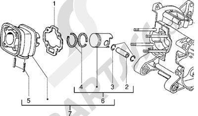 Piaggio NRG Extreme 1998-2005 Grupo cilindro-piston-eje de piston (Vehículos con freno de disco trasero)