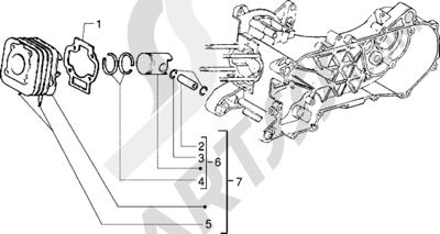 Piaggio NRG Extreme 1998-2005 Grupo cilindro-piston-eje de piston (Vehículos con freno de tambor trasero)