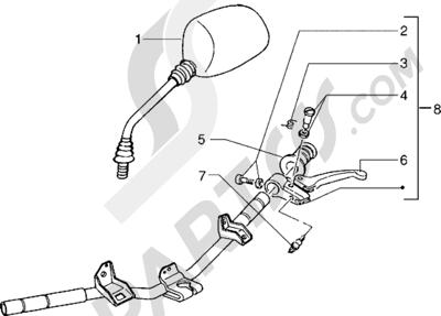 Piaggio NRG Extreme 1998-2005 Piezas que componen el manillar (Vehículos con freno de tambor trasero)