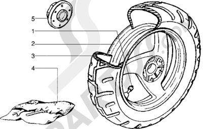 Piaggio NRG Extreme 1998-2005 Rueda trasera (Vehículos con freno de tambor trasero)