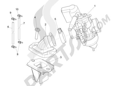 Piaggio NRG Power DD 2007-2015 Carburador completo - Racord admisión