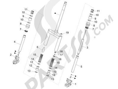 Piaggio NRG Power DD 2007-2015 Componentes de la horquilla (Wuxi Top)