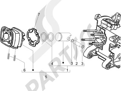 Piaggio NRG Power DD 2007-2015 Grupo cilindro-pistón-eje