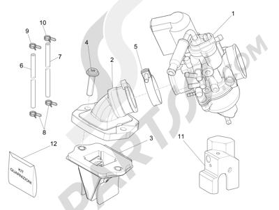 Piaggio NRG Power DD H2O (CH) 2011-2013 Carburador completo - Racord admisión