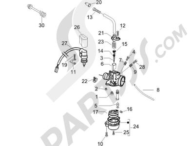 Piaggio NRG Power DT (UK) 2005 Componentes de carburador