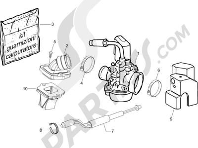 Piaggio NRG Power DT 2006 Carburador completo - Racord admisión