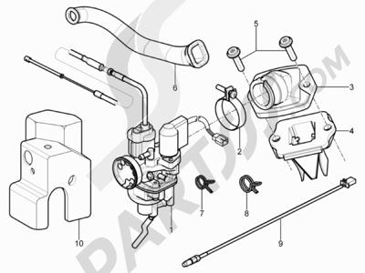 Piaggio NRG Power DT 2007-2015 Carburador completo - Racord admisión