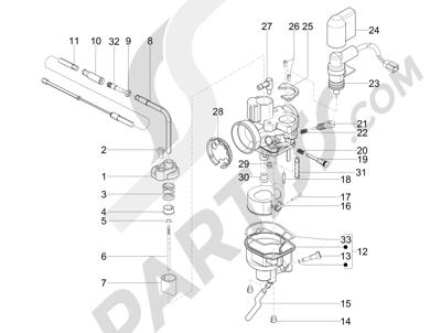 Piaggio NRG Power DT 2007-2015 Componentes de carburador