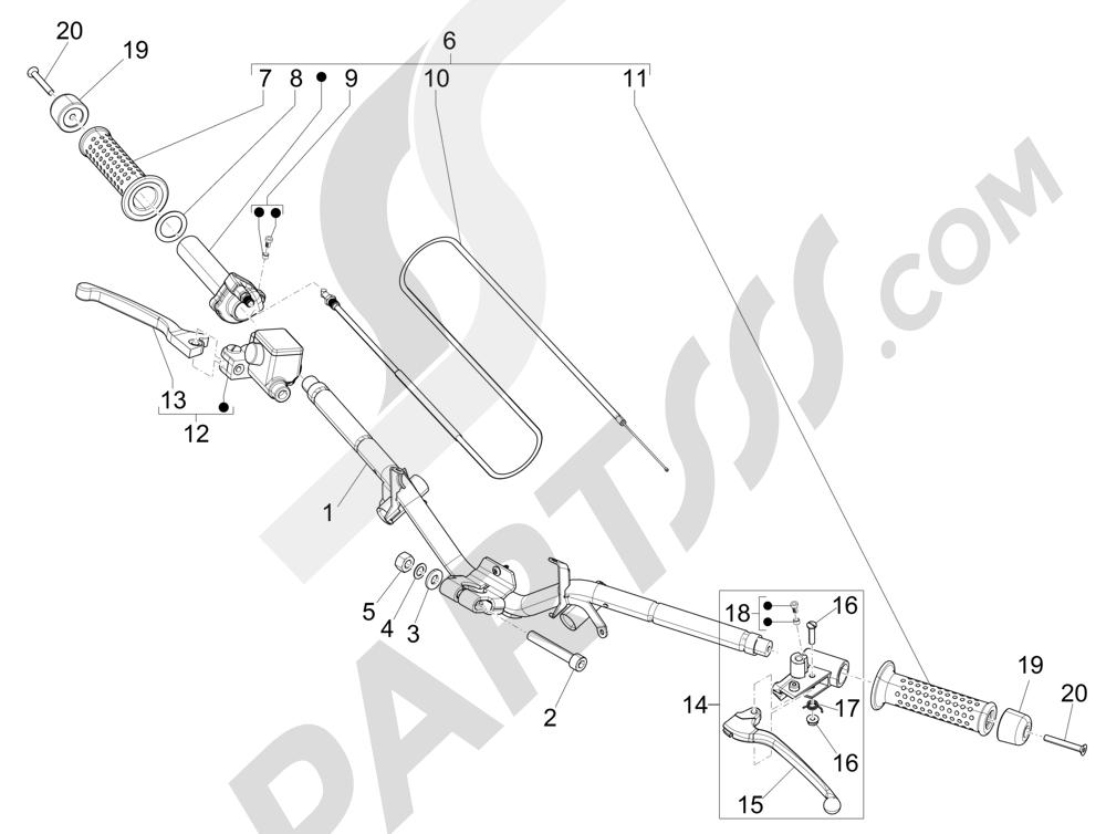 Piaggio NRG Power DT 2007-2015 Handlebars - Master cil.