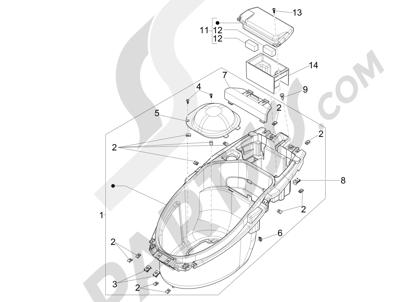 Piaggio NRG Power DT 2007-2015 Helmet huosing - Undersaddle