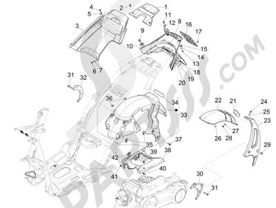 Piaggio NRG Power DT 2007-2015 Rear cover - Splash guard