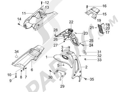 Piaggio NRG Power DT Serie Speciale (D) 2007 Cubierta trasera - Salpicador