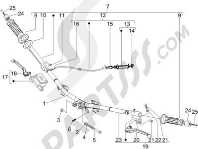 Piaggio NRG Power DT Serie Speciale (D) 2007 Manillar - Bomba freno